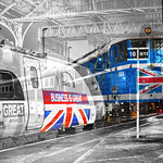 Buisness is Great Union Jack Flag  Pendolino And Brexit Class 31 at Preston 23.11.2015