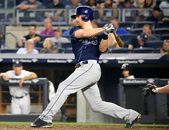 The Rays' Logan Forsythe singles in the seventh inning.