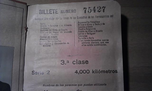 Billete Kilométrico, 1931