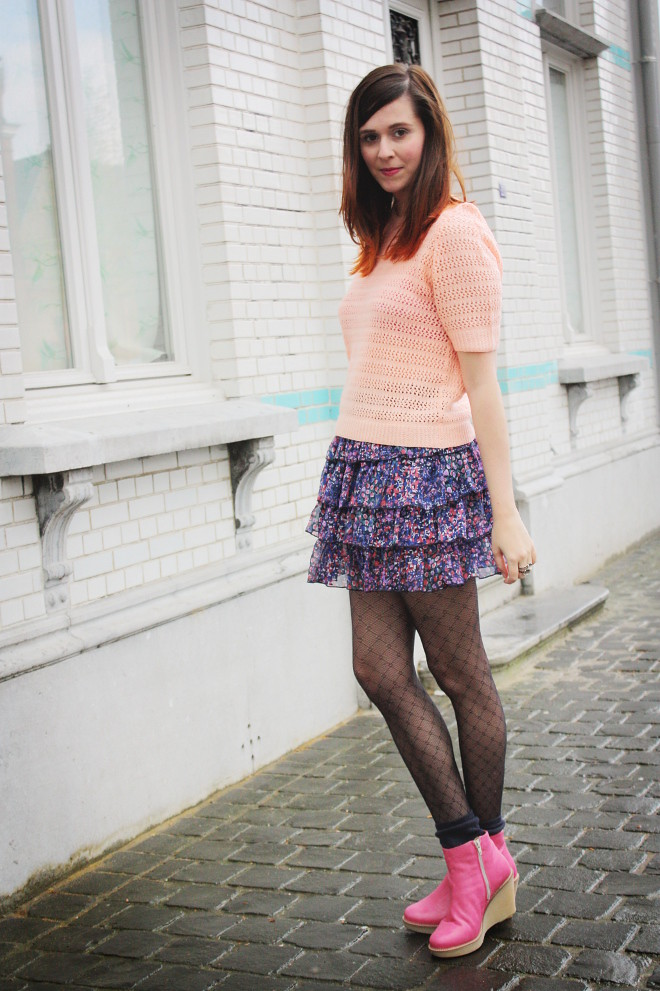 Peach Knit, Frilly Skirt