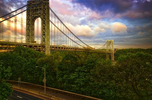 nyc newyorkcity bridge light shadow newyork color colour sunrise river geotagged highway manhattan hudsonriver hudson gothamist georgewashington hdr gwb georgewashingtonbridge henryhudson mudpig stevekelley stevenkelley