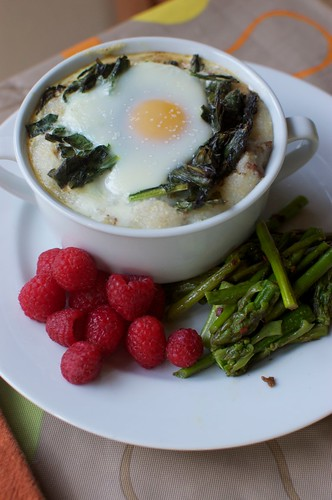 Baked Eggs with Mibuna and Grits