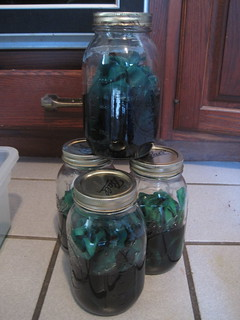 dyeing some fabric green