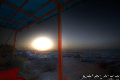 sunset cars parking o2 libya hdr pakinglot tripol o2coffeeshop