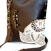 Med. Leather Boho Messenger w/vintage doily & antique key