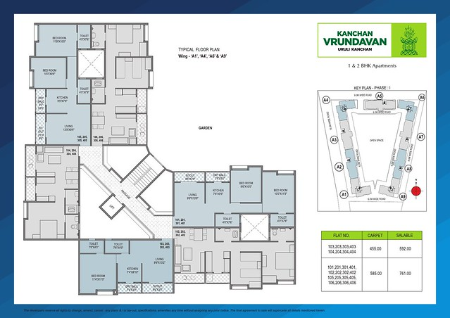 Typical Floor Plan of A1, A4, A6 & A9 Buildings at Kanchan Vrundavan, 1 BHK & 2 BHK Flats at Koregaon Mul, near Uruli Kanchan Pune 412202