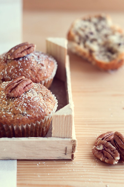 Muffin banane e noci peca - Pecan nuts and banana muffin