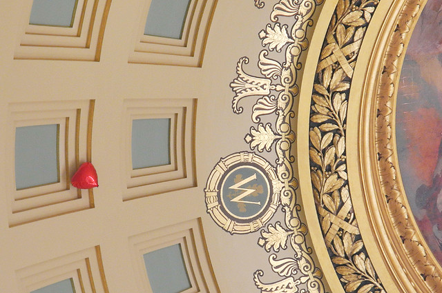 Red Balloon Clings to the Rotunda Dome Like a Sign of Hope
