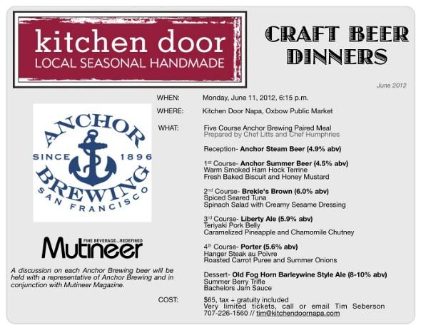 Kitchen Door Anchor Brewing Craft Beer Dinner