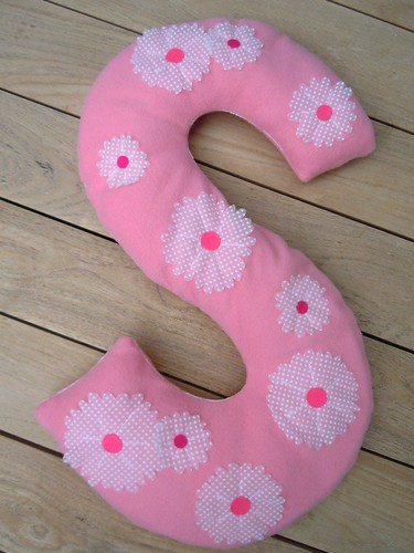 Fleece monogram daisy pillow