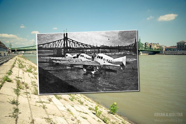 Budapest, Szabadság híd, az Aeroexpress Rt. hidroplán-állomása, Junkers F-13 repülőkkel fortepan_24829