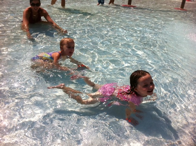 kinley & addie swimming