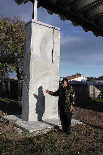 Raphael Stowers with one of his totems