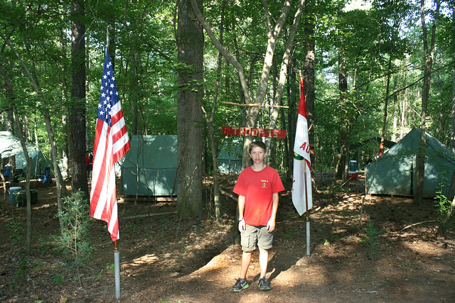 Camp Sequoyah - Drew at his campsite entrance