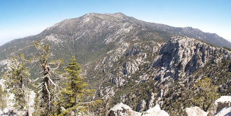 Panorama shot from the South Ridge Trail of Marion Peak, Jean Peak, Miller Peak and Hidden Divide