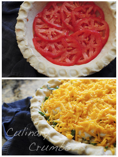 layer with tomatoes, corn and cheddar