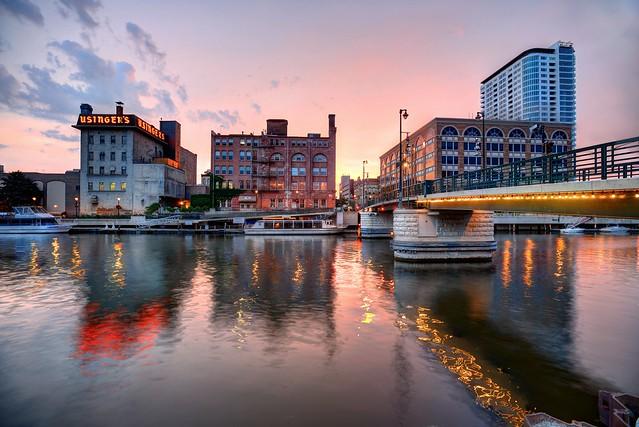 Sundown on the Milwaukee River at Highland Avenue Pedestrian Bridge