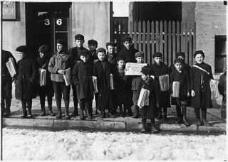 Waiting for their papers. 3 of these were 8 years old. Some were 9 years old. Hartford, Conn, March 1909
