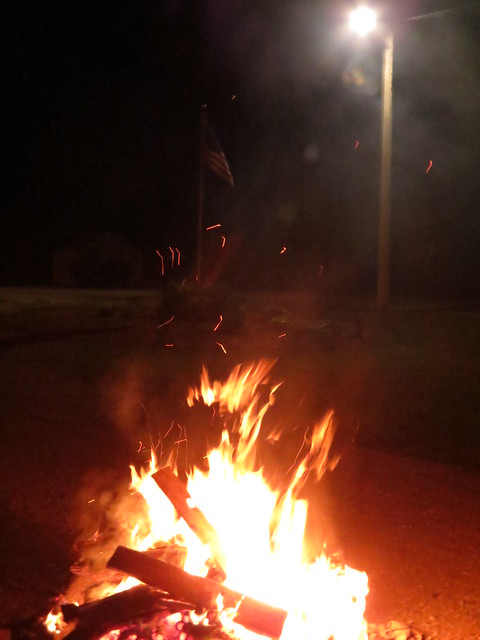 Fire and Flag on July 4th