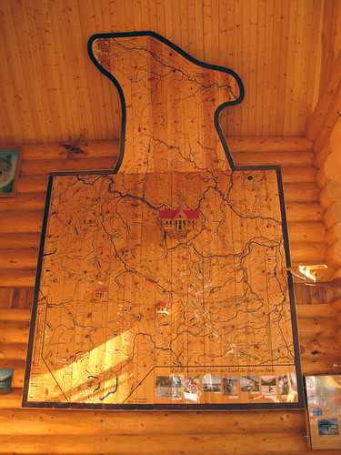 Northern Rockies Lodge, Muncho Lake - wooden map