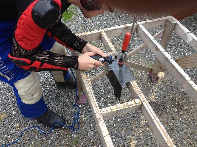 Cutting bracket in place