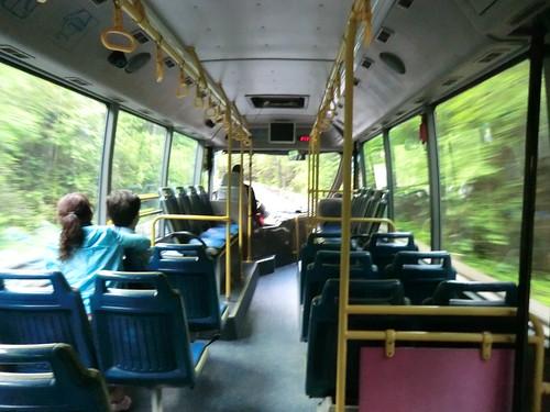 天鵝海から箭竹海へのバス@九寨溝
