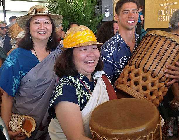 <p>The University of Hawaii leading the start of the Smithsonian Folklife Festival on June 27.</p>