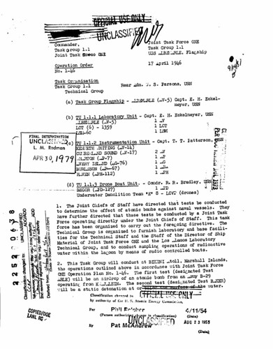 Orders for Joint Task Force ONE April 17 1946
