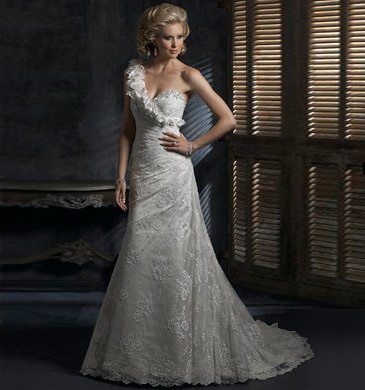 One Shoulder Embroidery Pleated Floor Length Lace Wedding Dress