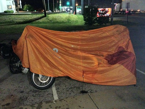 An excessively wet rain fly makes an impromptu bike cover