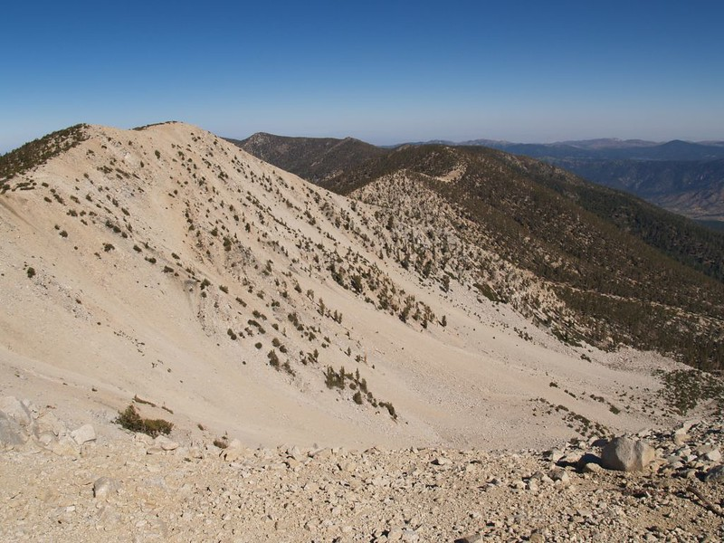 Looking west along the main ridge from The shoulder of San Gorgonio Mountain