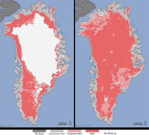 Satellites See Unprecedented Greenland Ice Sheet Surface Melt