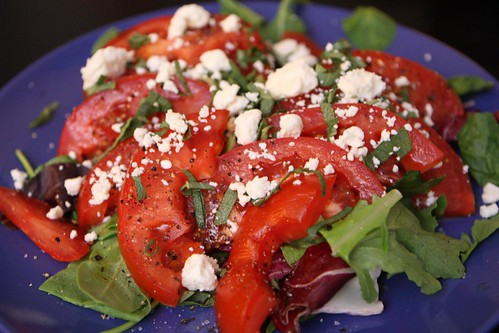 Local Tomatoes with Feta, Olive Oil, and Mom's Garden Sage