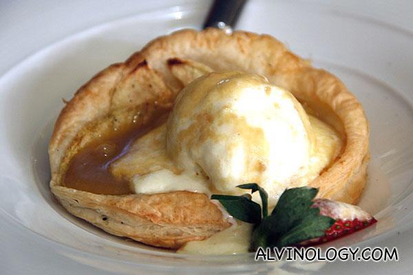 French Apple Tart: vanilla bean ice cream & caramel (AUD$14)