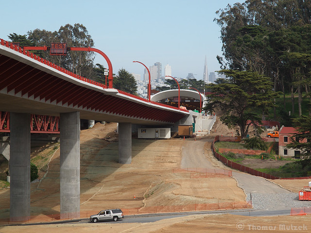 The newly constructed Presidio Parkway, San Francisco