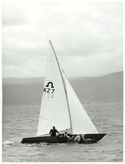 "Olympic Soling Class Yacht Races, ""Zeus"" skippered by Helma Pederson leads the field, Wellington Harbour"