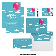This is part of my Birthday Balloon Collection I did for @zazzle It includes a birthday party invitation, stamps, envelope, address label, thank you card and lots more #birthdayparty #partysupplies
