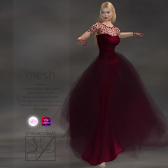 Snowpaws - Guipure Ruby Gown with appliers