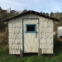 El poder de la proporción VIII: interesante fachada de una casita de cementerio chilote. La puerta increíble.