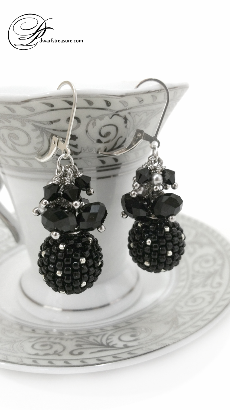 Custom made black beaded polka dot earrings and tea cup