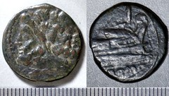 97/28 Luceria L As. Fourth phase. Janus / L; I / Prow / ROMA. Apparent L below head. Paris d'Ailly 3549, 5g55. Incorrectly cited and illustrated as RRC 99/10 but the types were switched in RRC.