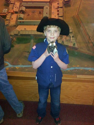 Buddy and the cub scouts at Fort Stanwix in Rome, NY