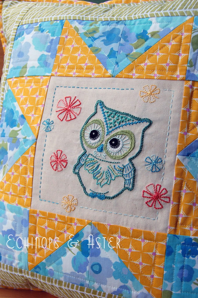"""Have a Hoot"" Embroidered Owl Cushion"