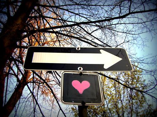 graffiti heart one way sign