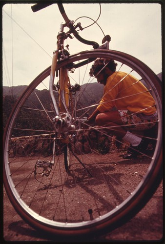 Bicyclist in the Malibu Canyon area near Malibu, California which is located on the northwestern edge of Los Angeles County, May 1975