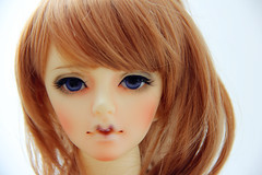 nose, bangs, face, hairstyle, brown, skin, lip, girl, head, hair, long hair, brown hair, close-up, blond, hair coloring, mouth, red hair, wig, doll, eye, organ, toy,