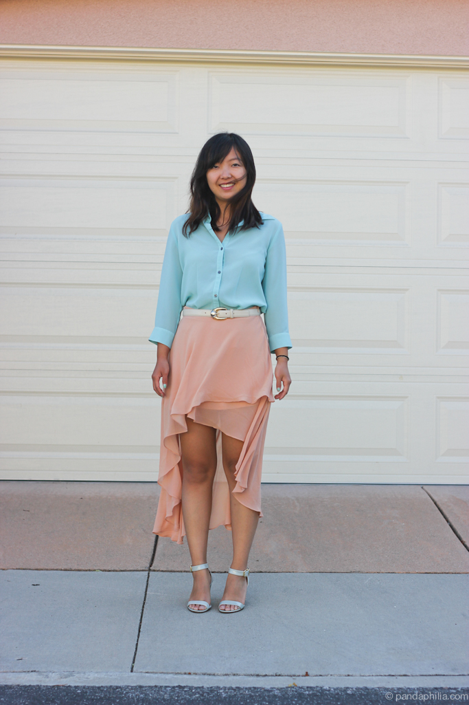mint sheer top and blush pink hi lo skirt