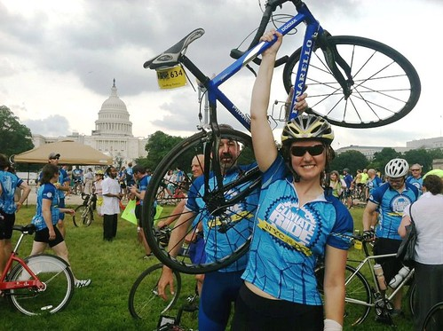 Team NRDC captain Sarah Brailey at finish, with NRDC's Geoff Fettus just behind (photo courtesy of Sarah Brailey)