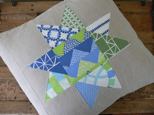 Quilted Star Pillow Cover in Blue and Green by Jenny Bartoy