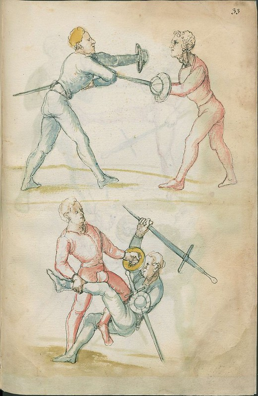 16th century sword fight manuscript drawing - Combat training 6